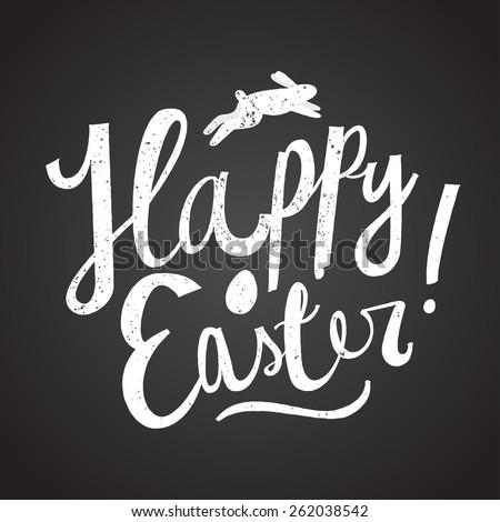 happy easter cartoon text. chalk on blackboard. easter card. vector illustration - stock vector