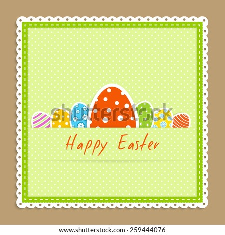 Happy easter celebration card - green textile napkin with many big and little easter colorful egg lie on beige backdrop vector illustration in applique style - stock vector