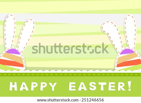 Happy easter celebration card - two stylized egg with long  ears on stripes green and yellow background, textile applique,  vector illustration - stock vector