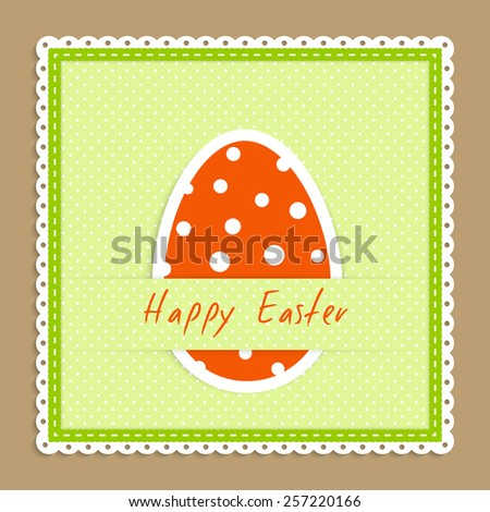 Happy easter celebration postcard - green textile napkin with big easter egg lie on beige backdrop vector illustration in applique style - stock vector