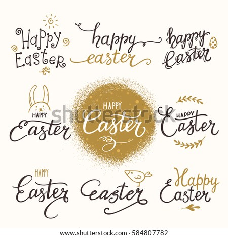 Happy easter congratulations artistic collection handwritten stock happy easter congratulations artistic collection of handwritten lettering made with ink and brush design pronofoot35fo Images