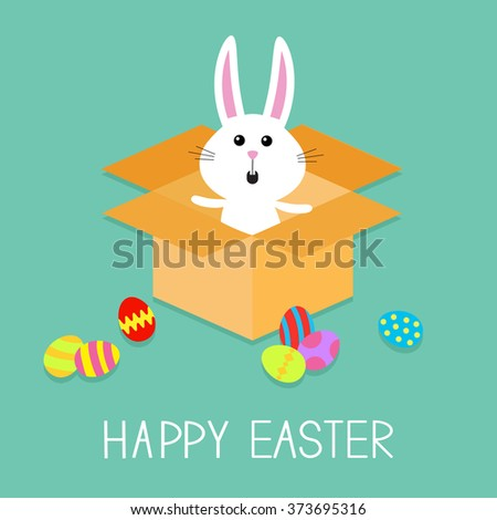 Happy Easter. Cute bunny rabbit and eggs. Open paper cardboard package gift box. Flat design. Vector illustration - stock vector