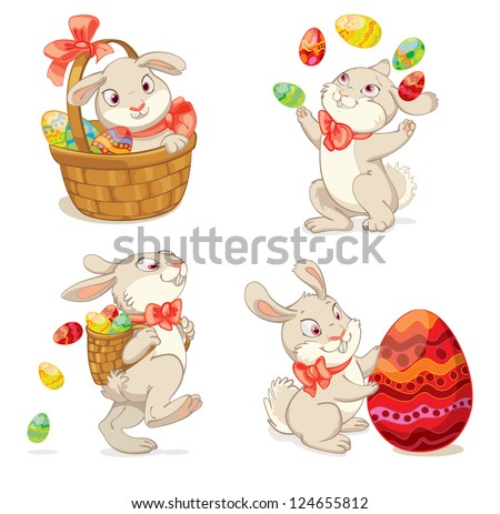 Happy Easter. Cute Easter bunny sitting in a basket, juggling with easter eggs, decorated Easter Egg, throws eggs. Vector illustration. Set. Isolated on white background - stock vector
