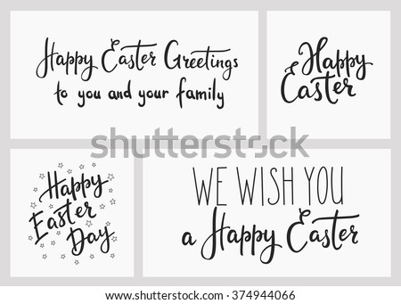 Happy easter day simple lettering set. Calligraphy postcard or poster graphic design lettering element. Hand written calligraphy style easter postcard chalk board style. Photography overlay sign set. - stock vector