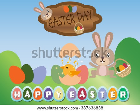 Happy Easter Day Vector Designs Rabbit Stock Photo Photo Vector