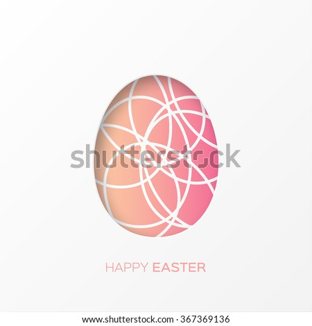 Happy Easter decorated paper egg on pink background with oval shapes. Vector design - stock vector