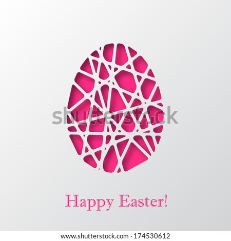 Happy Easter decorated paper egg, vector design - stock vector