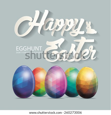 Happy Easter design with eggs - stock vector