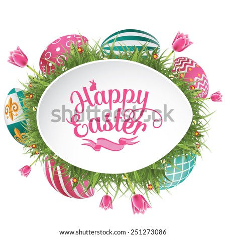 Happy Easter design with grass and tulips EPS 10 vector royalty free stock illustration for greeting card, ad, promotion, poster, flyer, blog, article - stock vector