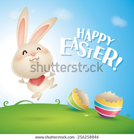 Happy Easter! Easter bunnies and egg in field. Wide copy space for text. - stock vector