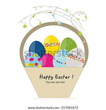 Happy easter egg basket greeting card vector  - stock vector