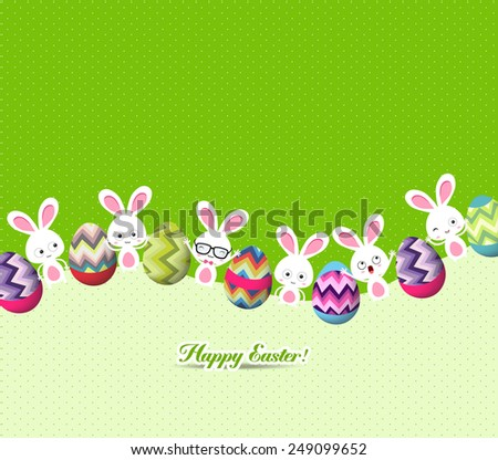 happy easter eggs and bunny background - stock vector