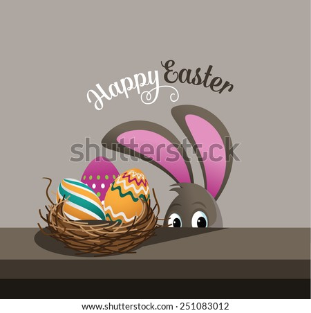 Happy Easter eggs and peeking bunny EPS 10 vector royalty free stock illustration for greeting card, ad, promotion, poster, flier, blog, article - stock vector