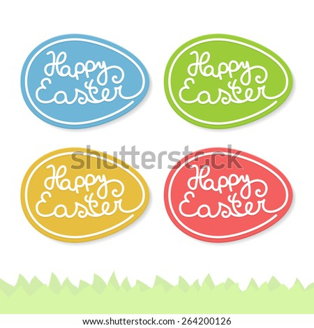 Happy easter eggs set, graphic labels
