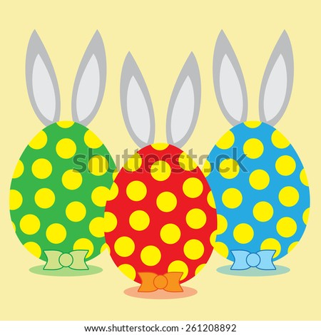 Happy easter eggs with rabbit ears and bows. Vector illustration. - stock vector