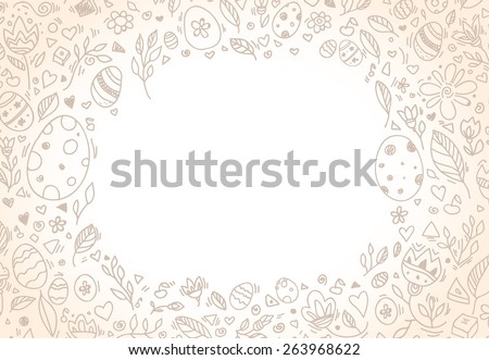 Happy Easter frame for your greeting text. Vector illustration. Floral pattern, easter eggs.  - stock vector