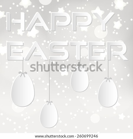 happy easter from paper with white eggs eps10 - stock vector