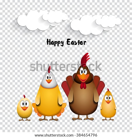 Happy Easter - Funny chicken family - vector illustration on transparent background - stock vector