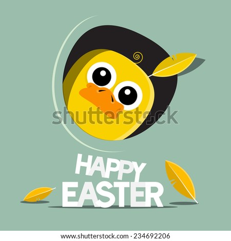 Happy Easter Funny Chicken Vector Illustration - stock vector