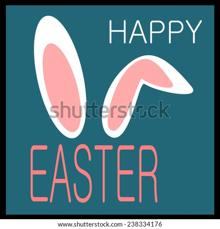 happy easter graphic design with bunny ears - stock vector