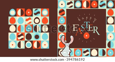 Happy Easter greeting card design. Retro style eggs pattern, bunny - stock vector