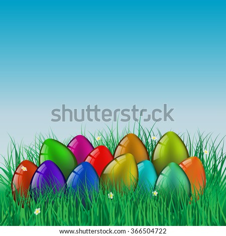 Happy Easter! Greeting Card, Eggs in the Grass
