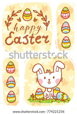 Happy Easter. Greeting card Illustration with cute Easter Bunny and lettering, calligraphy text. Hand drawn cute holiday art in vector cartoon style for poster, banner, invitation, decoration, print