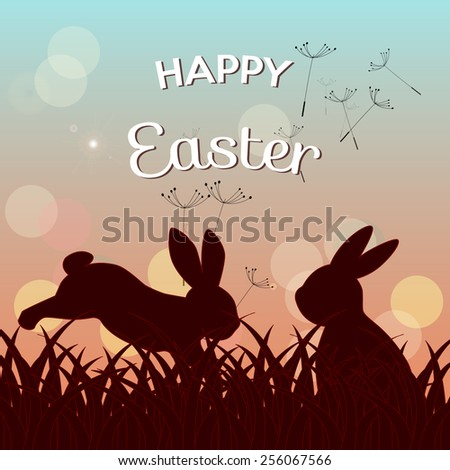 happy easter greeting card, seeds flying in the air and silhouettes of bunnies in the meadow at twilight - stock vector