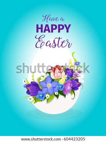 Happy Easter Greeting Card Template Paschal Stock Vector