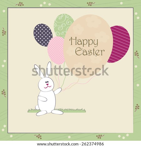 Happy Easter greeting card vector colorful illustration. Cute Easter Bunny with balloons resembling egg shape. Traditional Spring holiday invitation & greeting card template. Layered editable. - stock vector
