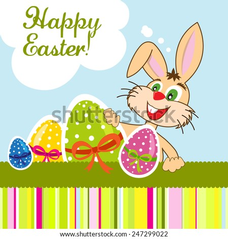 Happy Easter greeting card with bunny and colorful eggs - stock vector