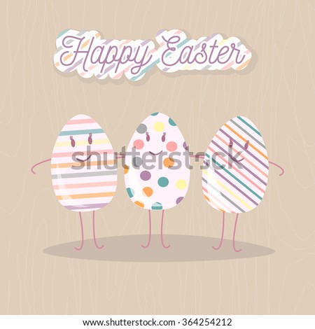 Happy Easter greeting card with eggs friends and letters. Vector concept for web sites and printed materials in cartoon style. - stock vector