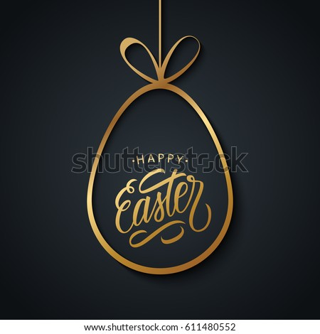 Happy Easter greeting card with golden easter egg and handwritten holiday wishes on black background. Vector illustration.