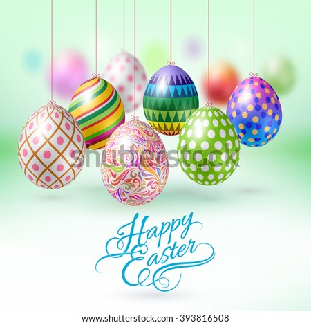 Happy easter greeting card hanging easter stock vector royalty free happy easter greeting card with hanging easter eggs m4hsunfo