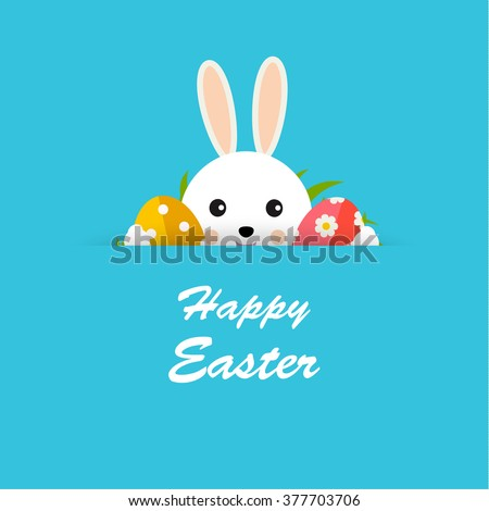 Happy Easter greeting card with hiding bunny, Easter eggs and green grass, vector illustration - stock vector