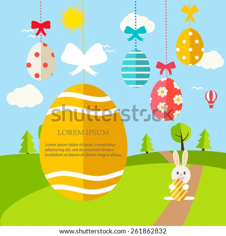 Happy Easter  Greeting card with landscape, hanging Easter eggs with ribbons and rabbits in flat design style , vector illustration - stock vector
