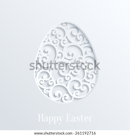 Happy Easter Greeting Card with Paper Cut Easter Egg. Vector Design Template - stock vector