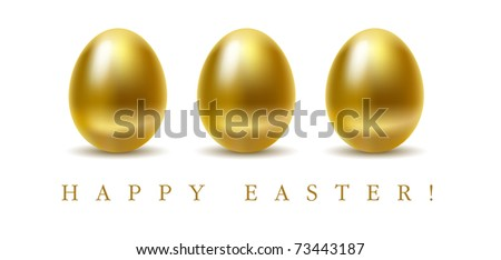 Happy easter greetings card with golden eggs on white background. - stock vector