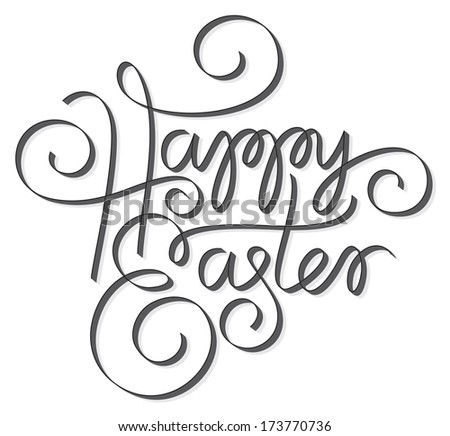 happy easter hand lettering  - stock vector