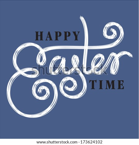 happy easter hand lettering - handmade calligraphy - stock vector