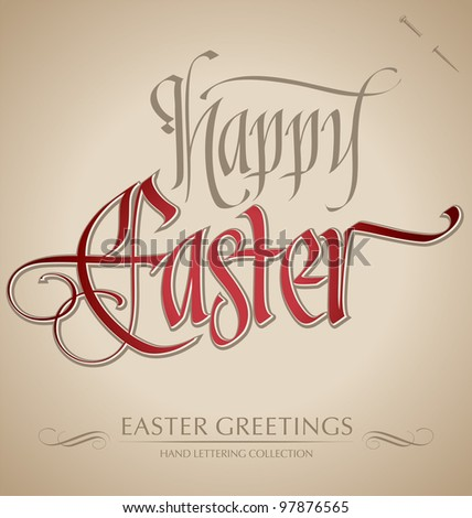 HAPPY EASTER hand lettering - handmade calligraphy (vector, eps8)