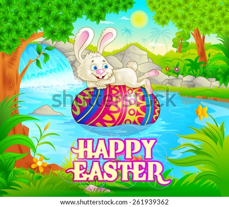 Happy Easter holiday celebration background in vector - stock vector