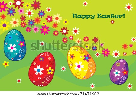Happy Easter illustration with colored eggs can be used as postcard - stock vector