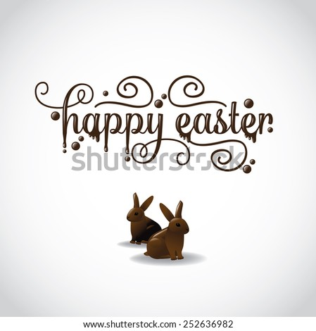 Happy Easter in fancy chocolate lettering with two chocolate bunnies. EPS 10 Vector royalty free stock illustration for greeting card, marketing, poster, design, blog, invitation, social media - stock vector