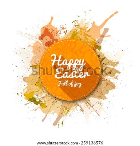 Happy Easter label, flat style. Golden Watercolor blots background. - stock vector