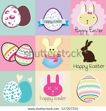 Happy Easter Labels Pastel Colors. Vector Illustration - stock vector
