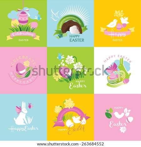 Happy Easter - labels, ribbons and other elements. Vector illustration - stock vector