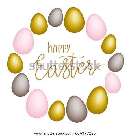 Happy Easter Lettering Poster Realistic Colored Stock Vector HD ...