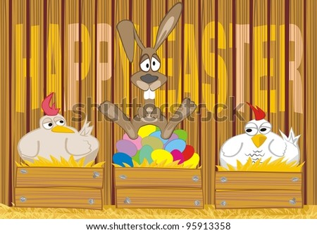 happy easter - painted eggs in the hen house - stock vector