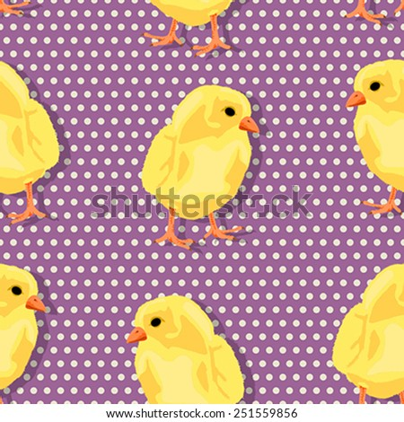 Happy Easter Pop Art seamless pattern with baby chicks - stock vector